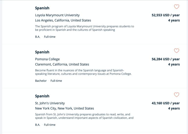University Courses Spanish